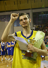 Vlad Moldoveanu of Romania celebrates his MVP selection